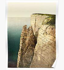 white cliffs at Eastbourne UK Vintage photograph Poster