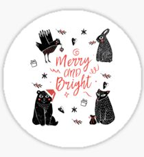 Christmas black and white animals Sticker