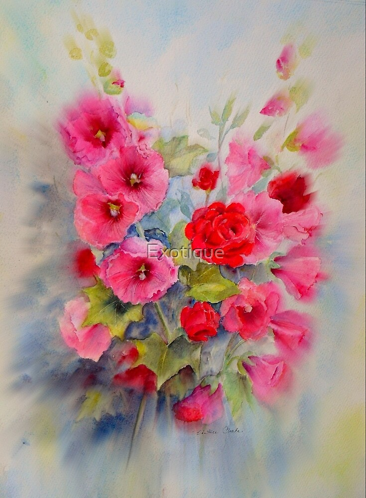 Hollyhocks by Exotique