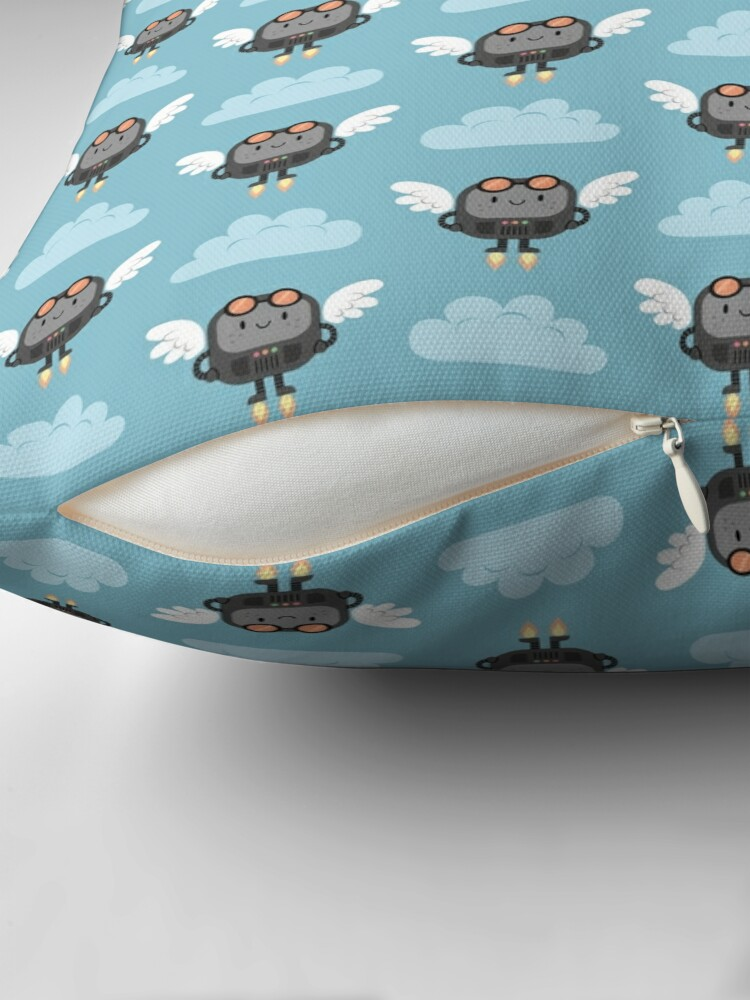Alternate view of Cute flying robots Floor Pillow