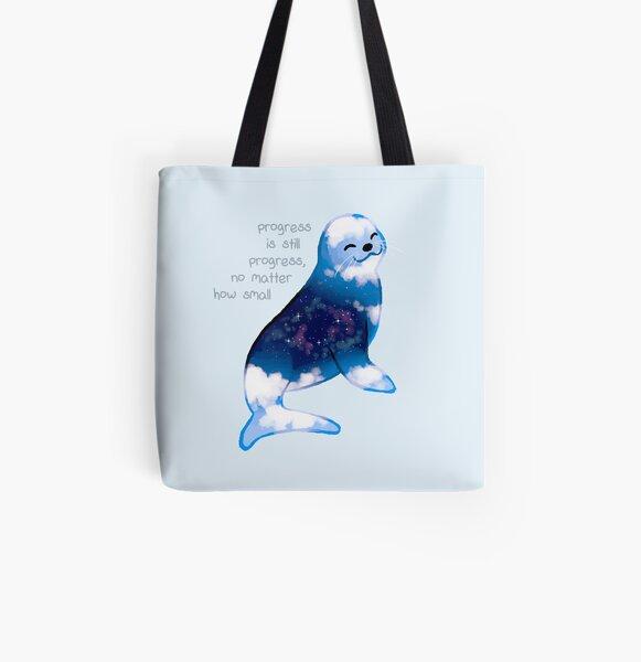 """Progress is Still Progress"" Galaxy Seal All Over Print Tote Bag"