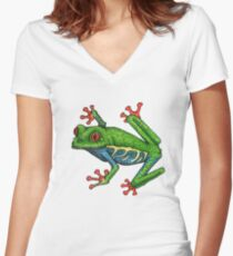 Colorful Tree Frog Women's Fitted V-Neck T-Shirt