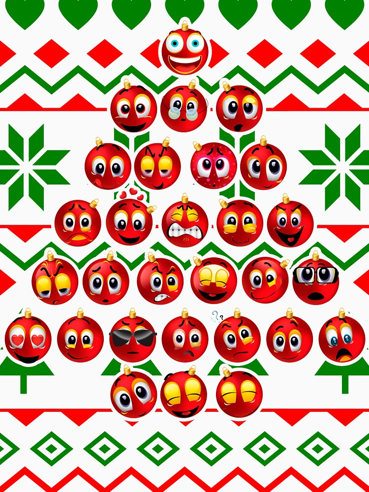 Icon Face Emoji Christmas tree Funny Xmas Emotion by bestdesign4u