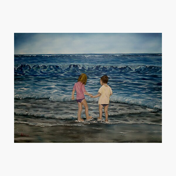 """Beach Kids"" - Oil Painting Photographic Print"