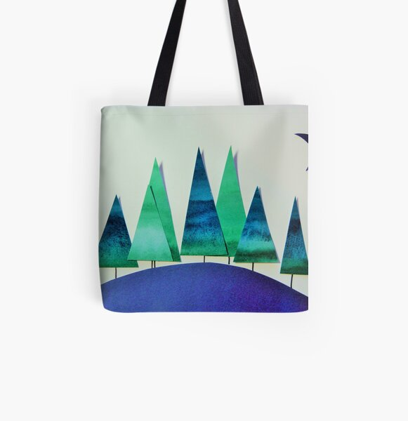 Small Wood, Green and Blue All Over Print Tote Bag