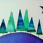 Small Wood, Green and Blue by Jennifer J Watson