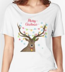 Deer with Christmas Lights Women's Relaxed Fit T-Shirt