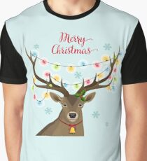 Deer with Christmas Lights Graphic T-Shirt