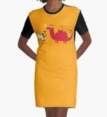 Dragon BBQ Graphic T-Shirt Dress