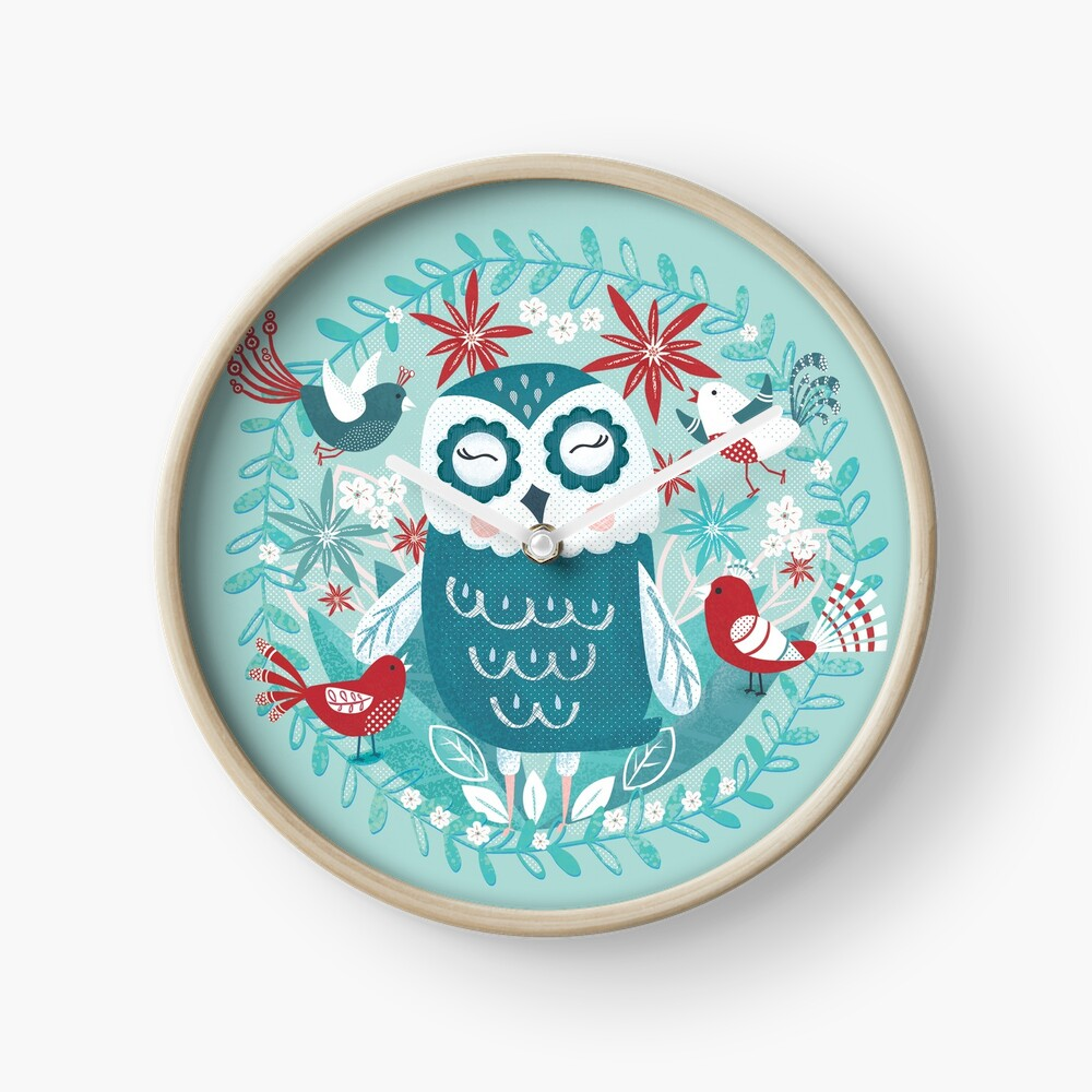 Snowy Owl and Friends Clock