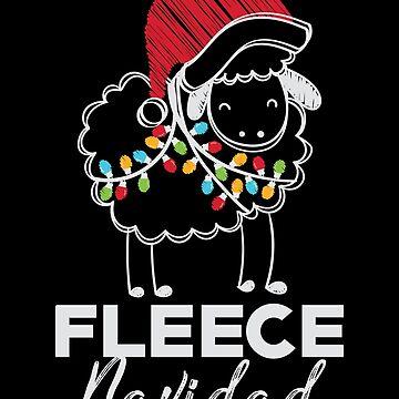 Fleece Navidad Shirt Merry Christmas Feliz Wordplay Sheep by artbyanave