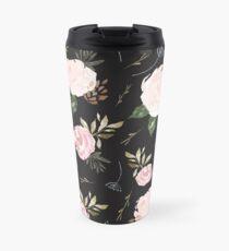 Floral Blossom - Black Background Travel Mug
