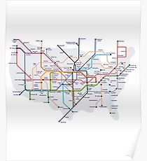 A Tube Too Far - America as a Tube map Poster