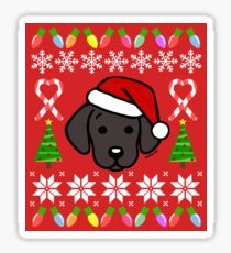 Black Labrador Puppy Christmas Santa Sticker