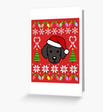 Black Labrador Puppy Christmas Santa Greeting Card