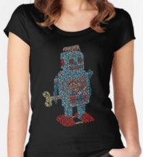 Vintage Mechanical Clockwork Wind up metal Walking Robot Tin Toy Kids Women's Fitted Scoop T-Shirt