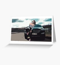 Young Woman Leaning on a Black SUV Car Greeting Card