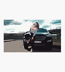 Young Woman Leaning on a Black SUV Car Photographic Print