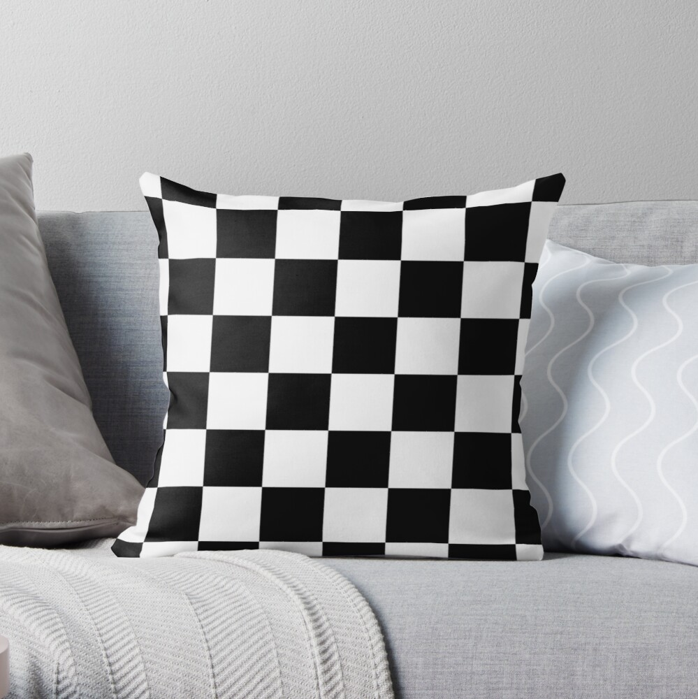 Checkered Flag, Chequered Flag, Motor Sport, Checkerboard, Pattern, WIN, WINNER,  Racing Cars, Race, Finish line, BLACK Throw Pillow