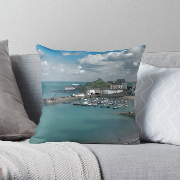 Tenby Harbour Ink Painting Throw Pillow