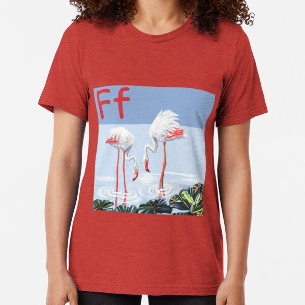 F is for Flamingo & Frog Tri-blend T-Shirt