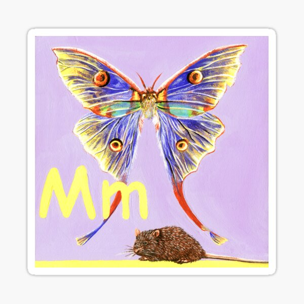 M is for Moth & Mouse Sticker