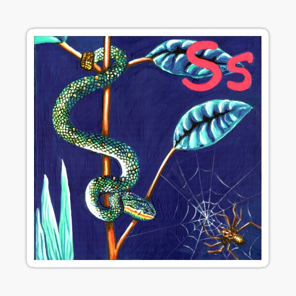 S is for Snake & Spider  Sticker