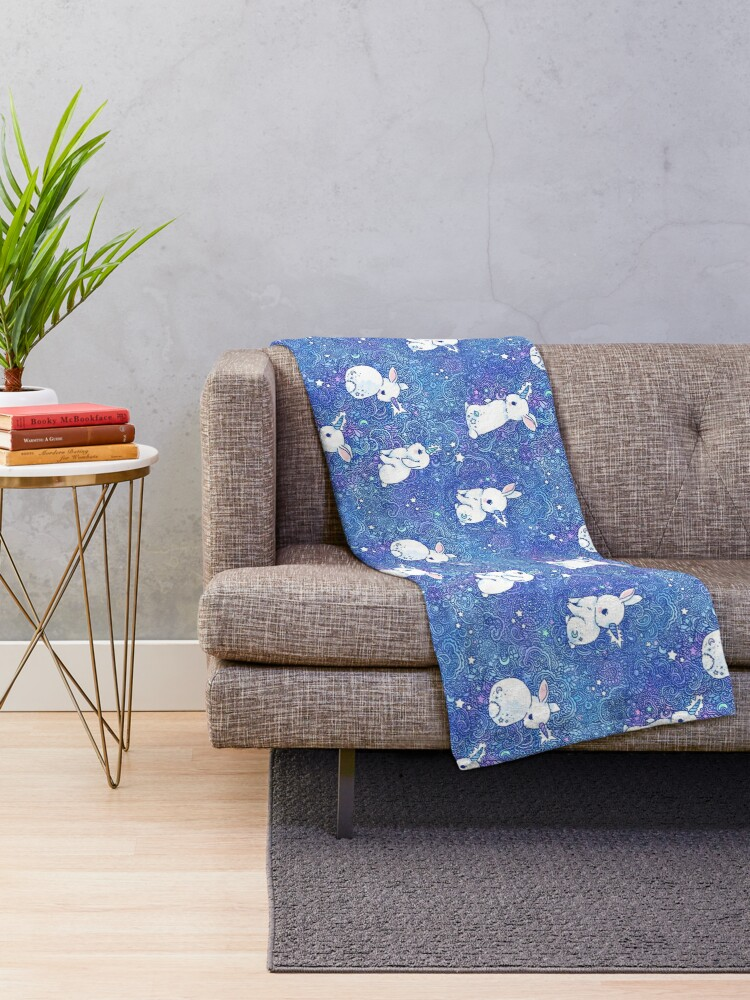 Alternate view of Unicorn Bunny Pattern Throw Blanket