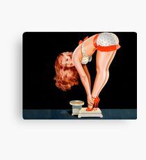 Sexy redhead woman on diet, funny vintage poster Canvas Print