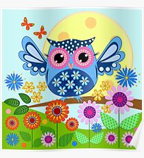 Decorative spring owl and flowers Poster