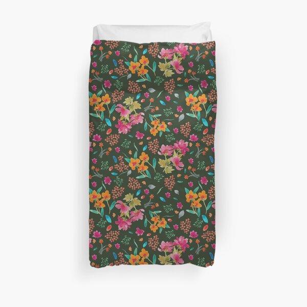 Watercolour Handprinted Floral Pattern Duvet Cover