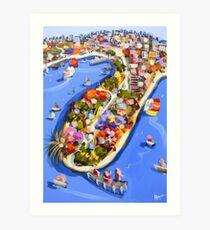 Blue water jetty Art Print