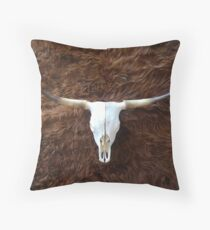 Highland cowhide and skull   Texture  Throw Pillow