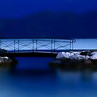 Little snowy Bridge at Night.....Lake Annecy by Imi Koetz