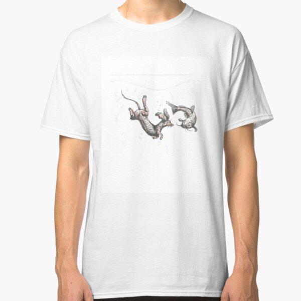 Dachshund underwater. Sausage dog swimming with cat fish, illustration. Classic T-Shirt