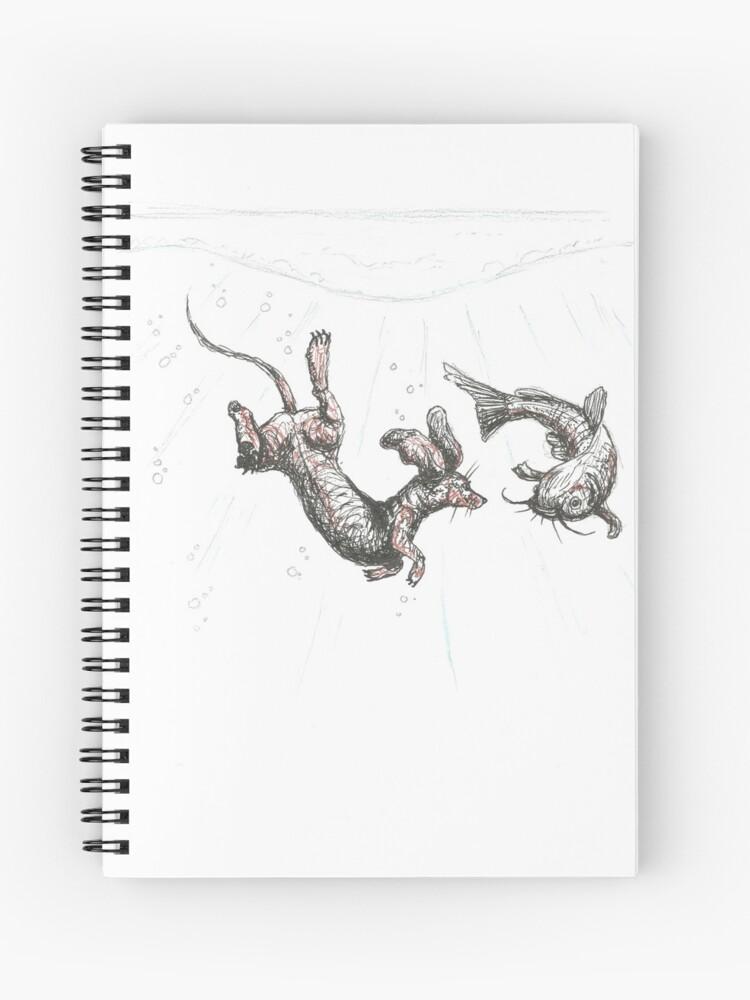 Dachshund underwater  Sausage dog swimming with cat fish, illustration  |  Spiral Notebook