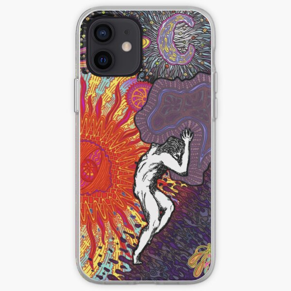 PSYCHEDELIC TRIPPY HORROR VACUI MYTH OF SISYPHUS - full colour iPhone Soft Case