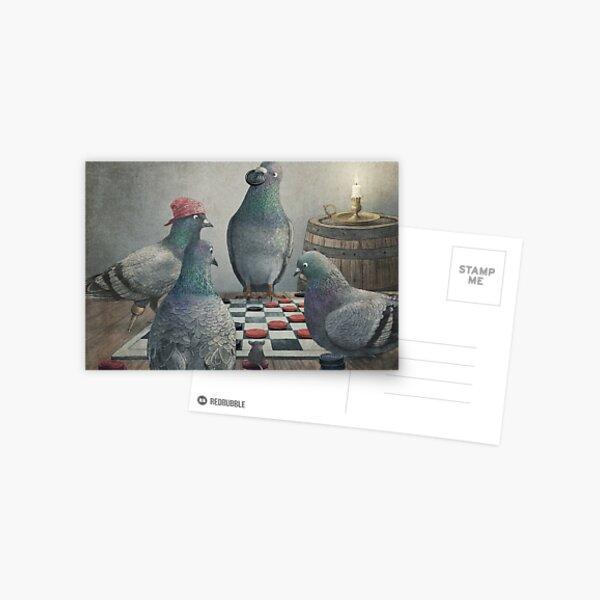 Die geweihten Ship_Pigeons spielen Dame Postkarte