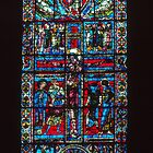 Central stained Glass window Christ on Cross Cathedral Poitiers France 19840824 0011  by Fred Mitchell