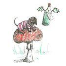 Cheshire Dachshund. Sausage Dog on a mushroom illustration. by CandyMedusa