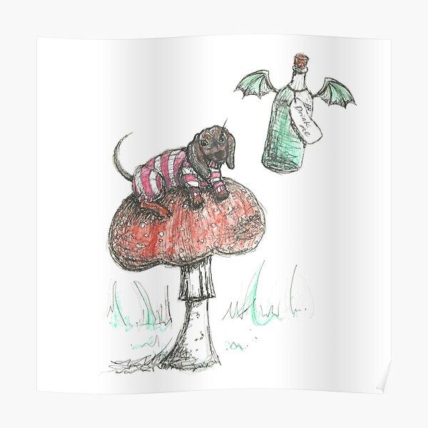 Cheshire Dachshund. Sausage Dog on a mushroom illustration. Poster