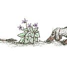 Dachshund, Weasel, and Violets, illustration by CandyMedusa