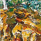 'Ochre Gully'  Oil Painting by Lozzar Flowers & Art