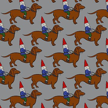 Gnome Riding a Dachshund Pattern, Gray Background by vivasweetlove