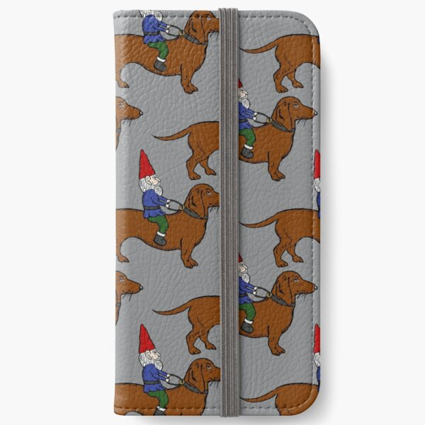 Gnome Riding a Dachshund Pattern, Gray Background iPhone Wallet