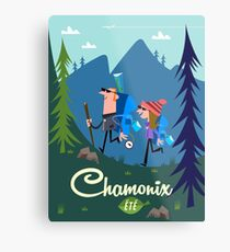 Chamonix Ete Poster Illustration Metalldruck
