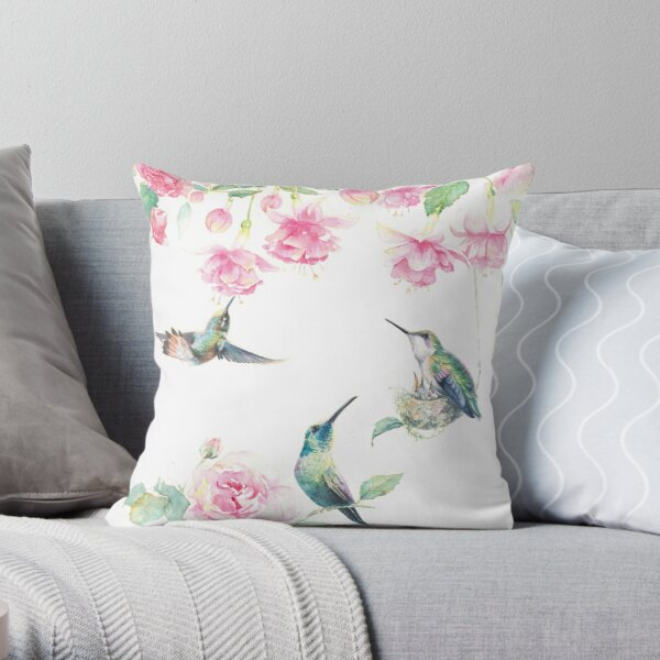 """Paradise"" - watercolor hummingbirds and fuschia garden Throw Pillow"