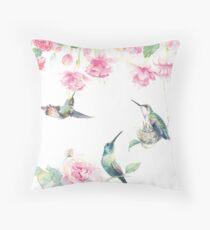 """""""Paradise"""" - watercolor hummingbirds and fuschia garden Throw Pillow"""