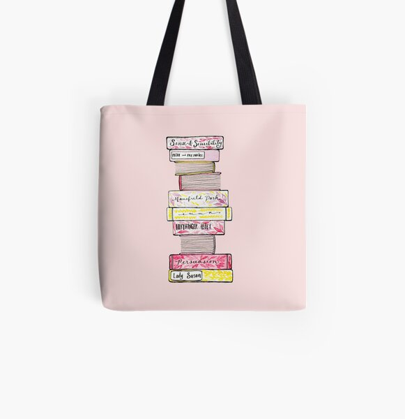 Novels of Jane Austen - Watercolor All Over Print Tote Bag