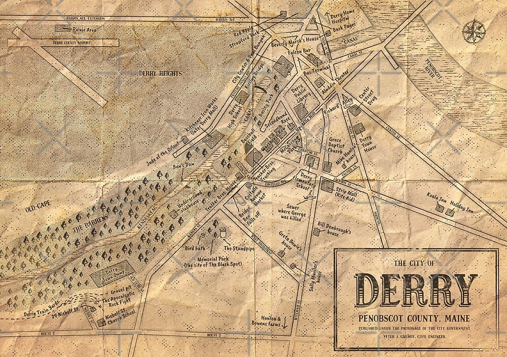 Map of Derry Maine Stephen Kings IT by schteffdesign Redbubble